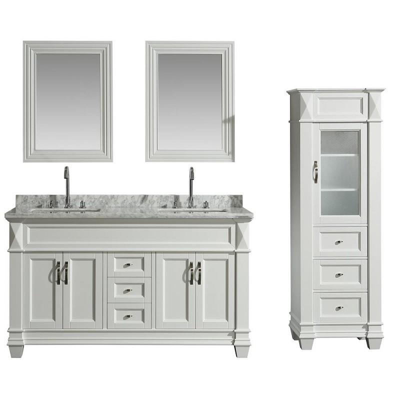 60 Inch Single Sink Vanity Set In White, 65 White Bathroom Vanity