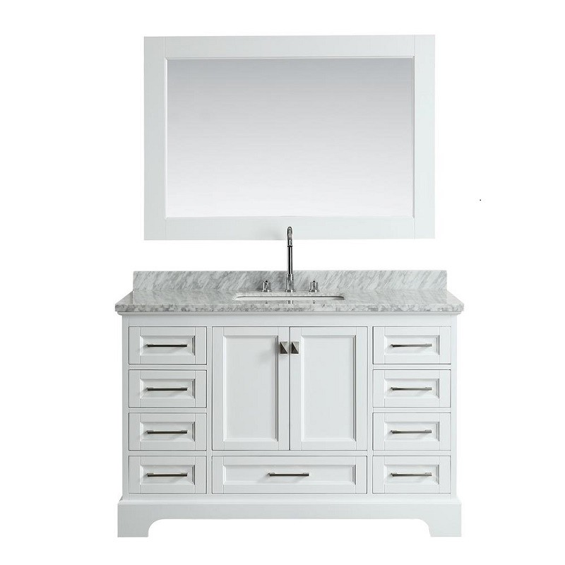 Omega 54 Inch Single Sink Vanity In White