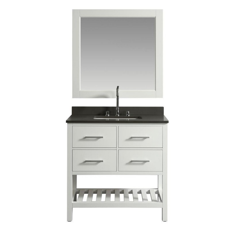 DESIGN ELEMENT DEC077A-W-GT LONDON 36 INCH SINGLE SINK VANITY IN WHITE WITH GREY QUARTZ TOP