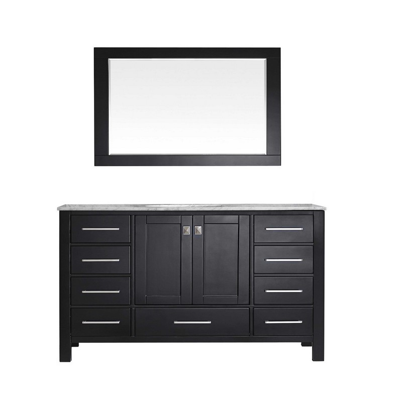 EVIVA EVVN412-60-SS ABERDEEN 60 INCH TRANSITIONAL SINGLE BATHROOM VANITY WITH WHITE CARRERA COUNTERTOP