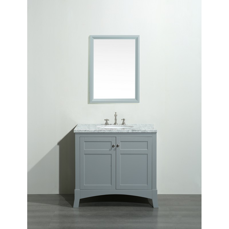 EVIVA EVVN514-36 NEW YORK 36 INCH BATHROOM VANITY WITH WHITE MARBLE CARRERA COUNTER-TOP AND SINK