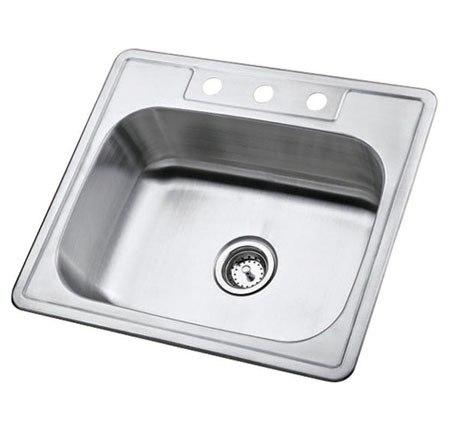 Kingston Brass K25228BN Gourmetier Carefree Single Bowl Self-rimming Kitchen Sink, Brushed Nickel