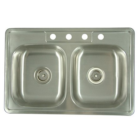 Kingston Brass K33226DBN Gourmetier Carefree Stainless Steel Double Bowl Self-rimming Kitchen Sink, Brushed Nickel