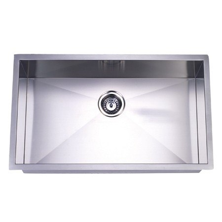 Kingston Brass KUS321910BN Gourmetier Towne Square Stainless Steel Single Bowl Undermount Kitchen Sink, Brushed Nickel