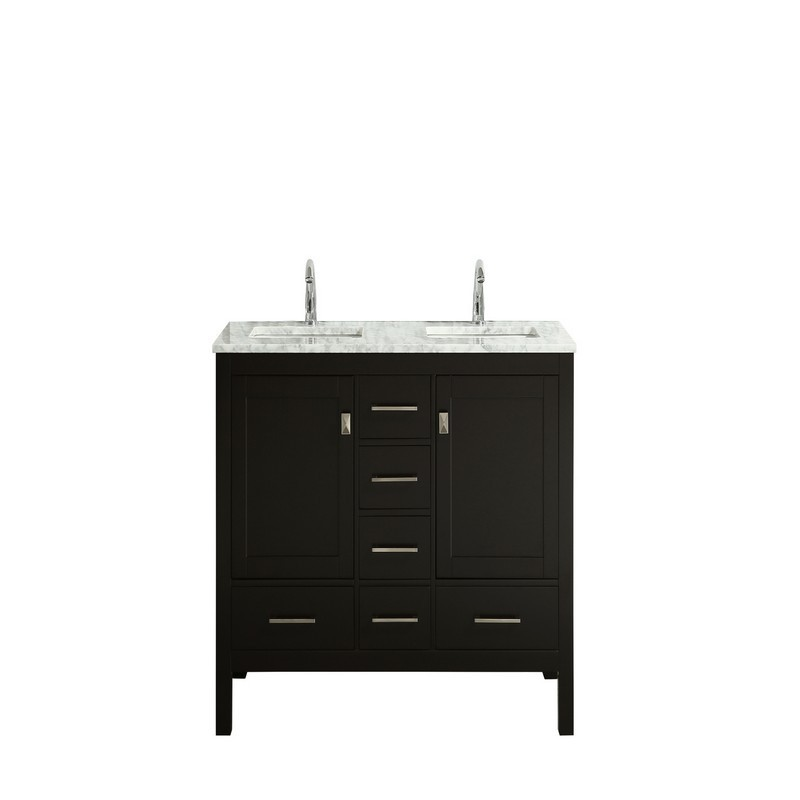Eviva Tvn414 48x18wh Ds London 48 Inch X 18 Inch Transitional Bathroom Vanity With White Carrara Marble And Double