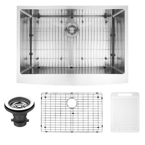 VIGO VGR3020CK1 30 INCH FARMHOUSE STAINLESS STEEL KITCHEN SINK, GRID AND  STRAINER
