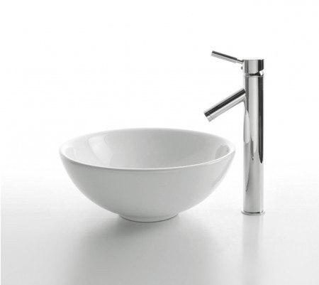 Kraus C-KCV-141-1002 White 16 Inch Round Ceramic Sink and Sheven Faucet
