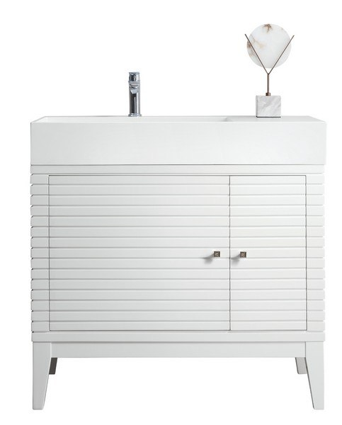 JAMES MARTIN 210-V36-GW-MW LINEAR 36 INCH SINGLE VANITY IN GLOSSY WHITE WITH MATTE WHITE SOLID SURFACE TOP