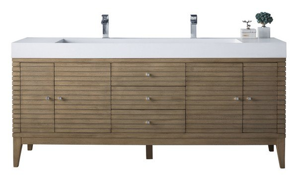 JAMES MARTIN 210-V72D-WW LINEAR 72 INCH DOUBLE VANITY IN WHITEWASHED WALNUT