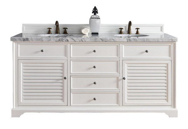 James Martin 238 104 V72 Cwh 3ejp Savannah 72 Inch Double Vanity Cabinet In Cottage White With 3 Cm Eternal Jasmine