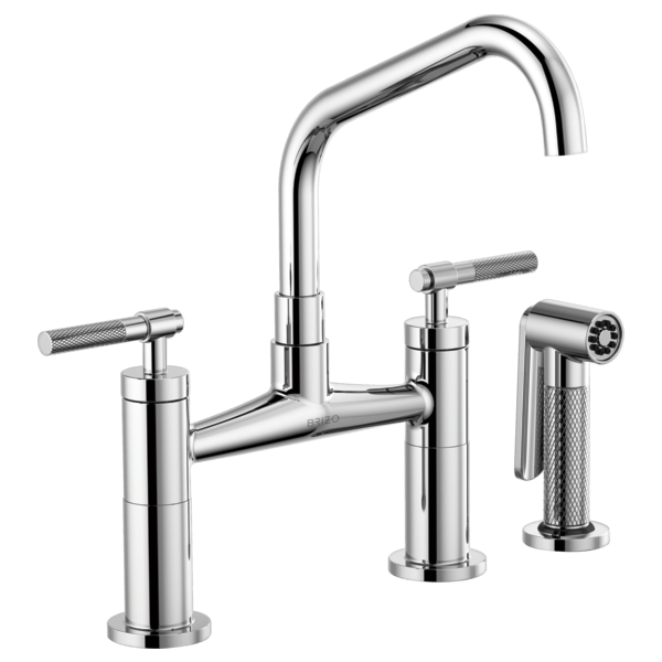 BRIZO 62563LF LITZE BRIDGE FAUCET WITH ANGLED SPOUT AND KNURLED HANDLE
