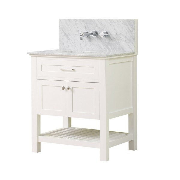 DIRECT VANITY SINK 32S8-WWC-WM PRESWICK SPA PREMIUM 32 INCH VANITY IN WHITE WITH MARBLE VANITY TOP IN WHITE CARRARA WITH BASIN