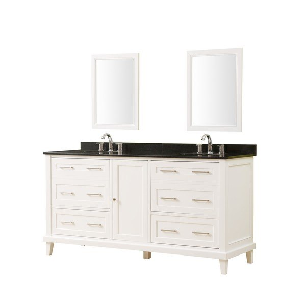 DIRECT VANITY SINK 6070D14-WBK-2M WINSLOW 70 INCH VANITY IN WHITE WITH GRANITE VANITY TOP IN BLACK WITH BASIN AND MIRRORS
