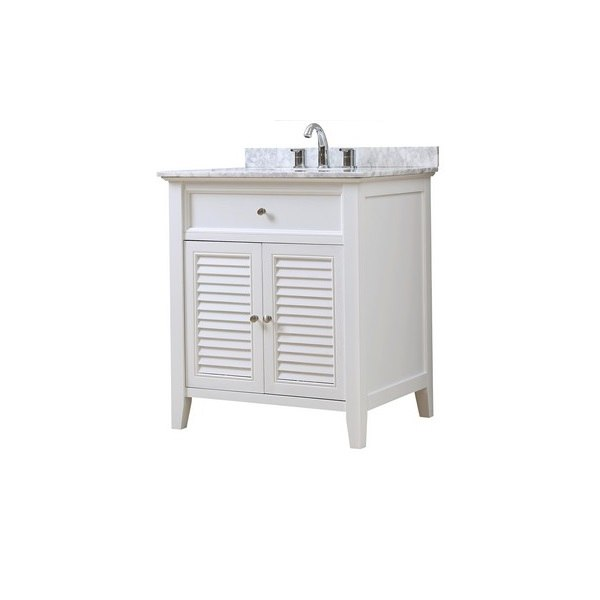 DIRECT VANITY SINK 32S12-WWC SHUTTER 32 INCH WHITE VANITY WITH CARRARA WHITE MARBLE TOP