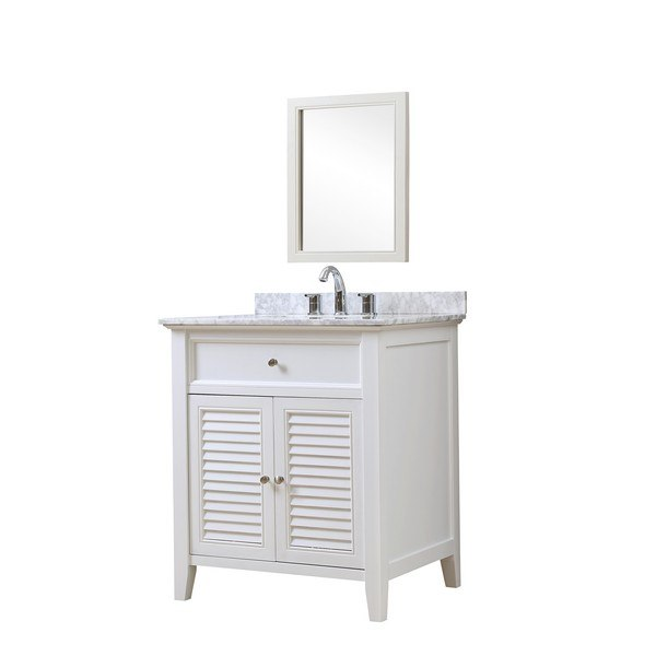DIRECT VANITY SINK 32S12-WWC-M SHUTTER 32 INCH WHITE VANITY WITH CARRARA WHITE MARBLE TOP AND MIRROR