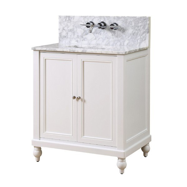 DIRECT VANITY SINK 32S9-WWC-WM CLASSIC PREMIUM 32 INCH PEARL WHITE VANITY WITH WHITE CARRARA MARBLE TOP
