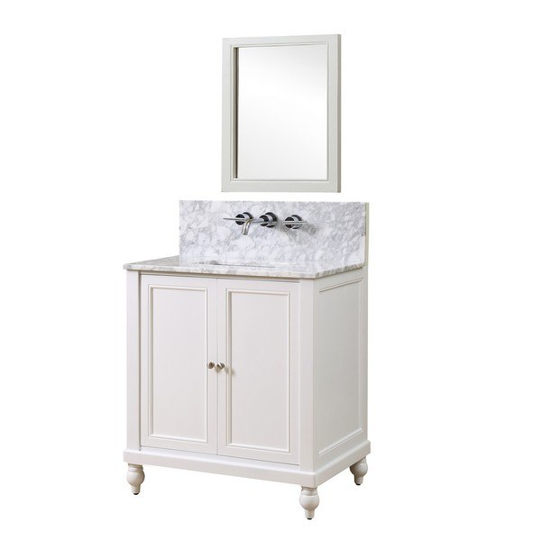 DIRECT VANITY SINK 32S9-WWC-WM-M CLASSIC PREMIUM 32 INCH PEARL WHITE VANITY WITH WHITE CARRARA MARBLE TOP AND MIRROR