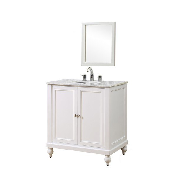 DIRECT VANITY SINK 32S9-WWC-M CLASSIC 32 INCH PEARL WHITE VANITY WITH WHITE CARRARA MARBLE TOP AND MIRROR