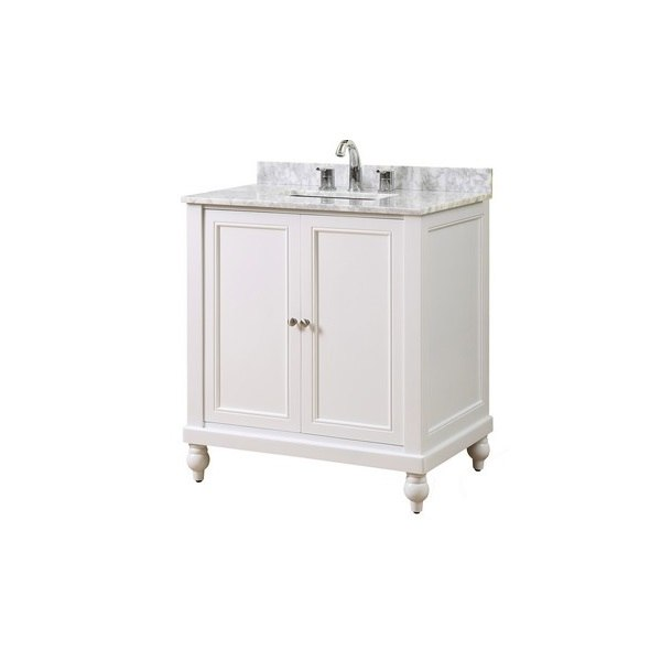 Direct Vanity Sink 32s9 Wwc Classic 32 Inch Pearl White Vanity With White Carrara Marble Top