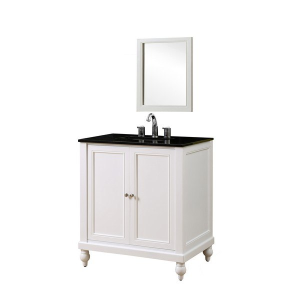 DIRECT VANITY SINK 32S9-WBK-M CLASSIC 32 INCH PEARL WHITE VANITY WITH BLACK GRANITE TOP AND MIRROR