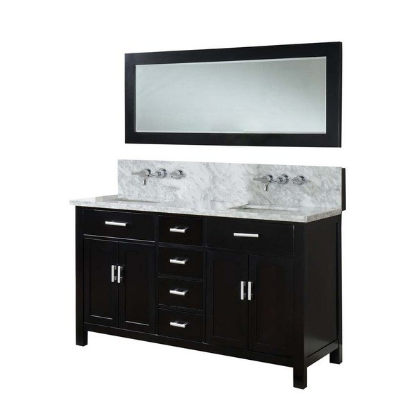DIRECT VANITY SINK 63D7-EWC SUTTON SPA PREMIUM DOUBLE 63 INCH EBONY VANITY WITH CARRARA WHITE TOP AND MIRROR