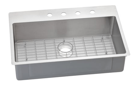 Elkay ECTSRS33229BG2 Crosstown 33 L x 22 W x 9 D Universal Mount Kitchen Sink with Bottom Grid, 2 Faucet Holes