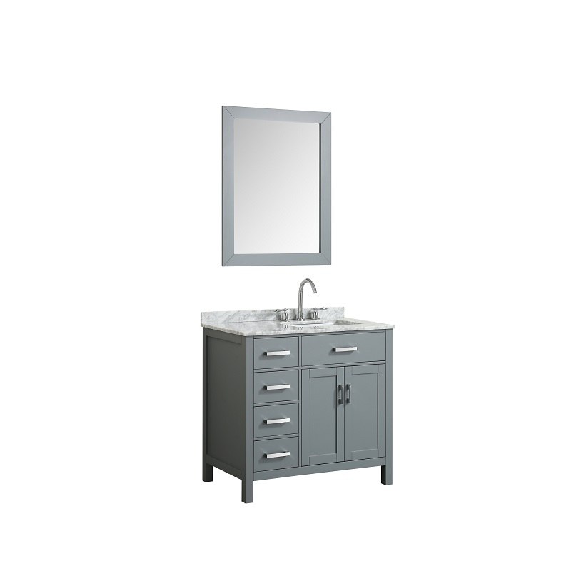 BELMONT DECOR HAMP037SRREC HAMPTON 37 INCH SINGLE RECTANGLE SINK VANITY SET WITHRIGHT OFFSET