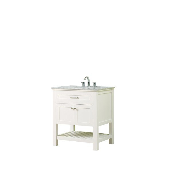 DIRECT VANITY SINK 32S8-WWC PRESWICK SPA 32 INCH VANITY IN WHITE WITH MARBLE VANITY TOP IN WHITE CARRARA WITH BASIN