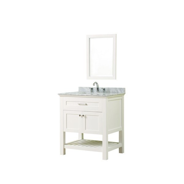 DIRECT VANITY SINK 32S8-WWC-M PRESWICK SPA 32 INCH VANITY IN WHITE WITH MARBLE VANITY TOP IN WHITE CARRARA WITH BASIN AND MIRROR
