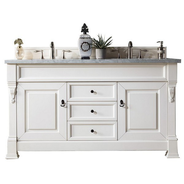 JAMES MARTIN 147-114-5641-3CAR BROOKFIELD 60 INCH COTTAGE WHITE DOUBLE VANITY WITH 3 CM CARRARA MARBLE TOP