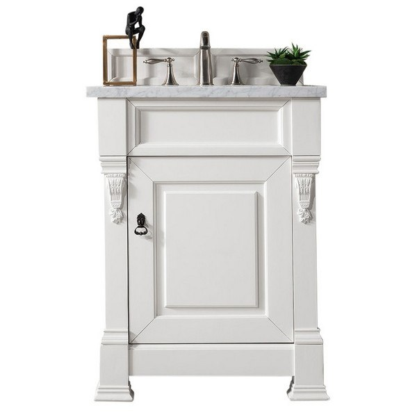 . JAMES MARTIN 147 114 V26 CWH 3CAR BROOKFIELD 26 INCH COTTAGE WHITE SINGLE  VANITY WITH 3 CM CARRARA MARBLE TOP