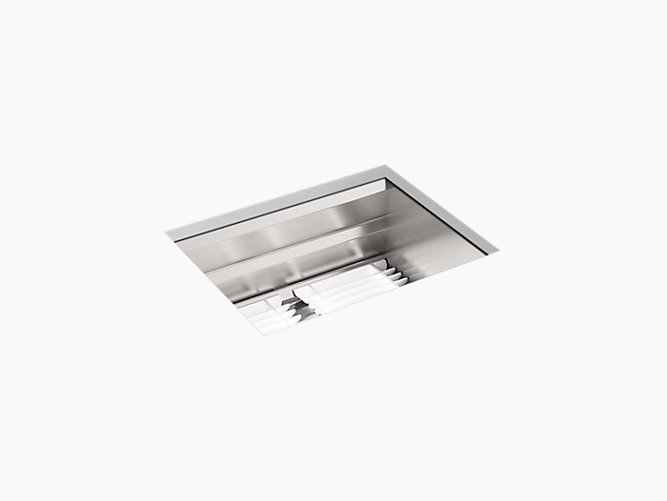 KOHLER K-23650-NA PROLIFIC 23 INCH UNDERMOUNT SINGLE BOWL STAINLESS STEEL KITCHEN SINK WITH ACCESSORIES