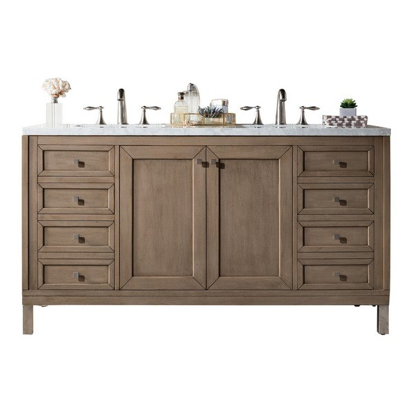 JAMES MARTIN 305-V60D-WWW-3CAR CHICAGO 60 INCH WHITE WASHED WALNUT DOUBLE VANITY WITH 3 CM CARRARA MARBLE TOP