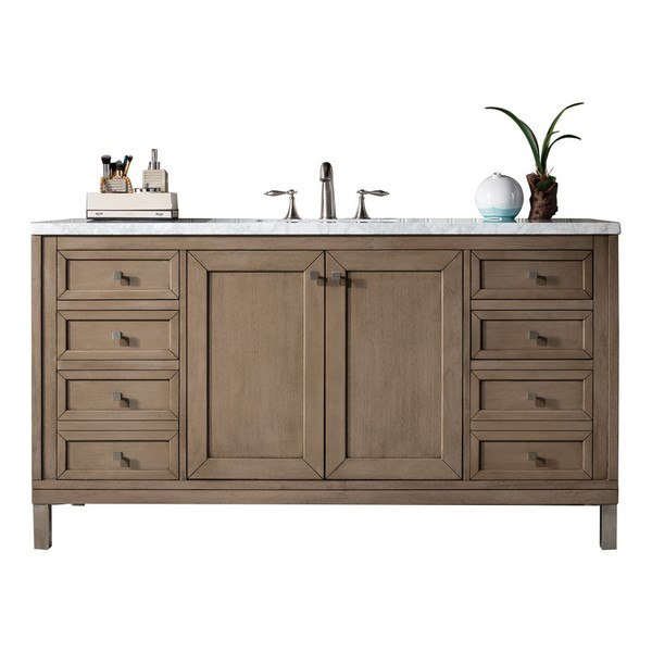 JAMES MARTIN 305-V60S-WWW-3CAR CHICAGO 60 INCH WHITEWASHED WALNUT SINGLE VANITY WITH 3 CM CARRARA MARBLE TOP
