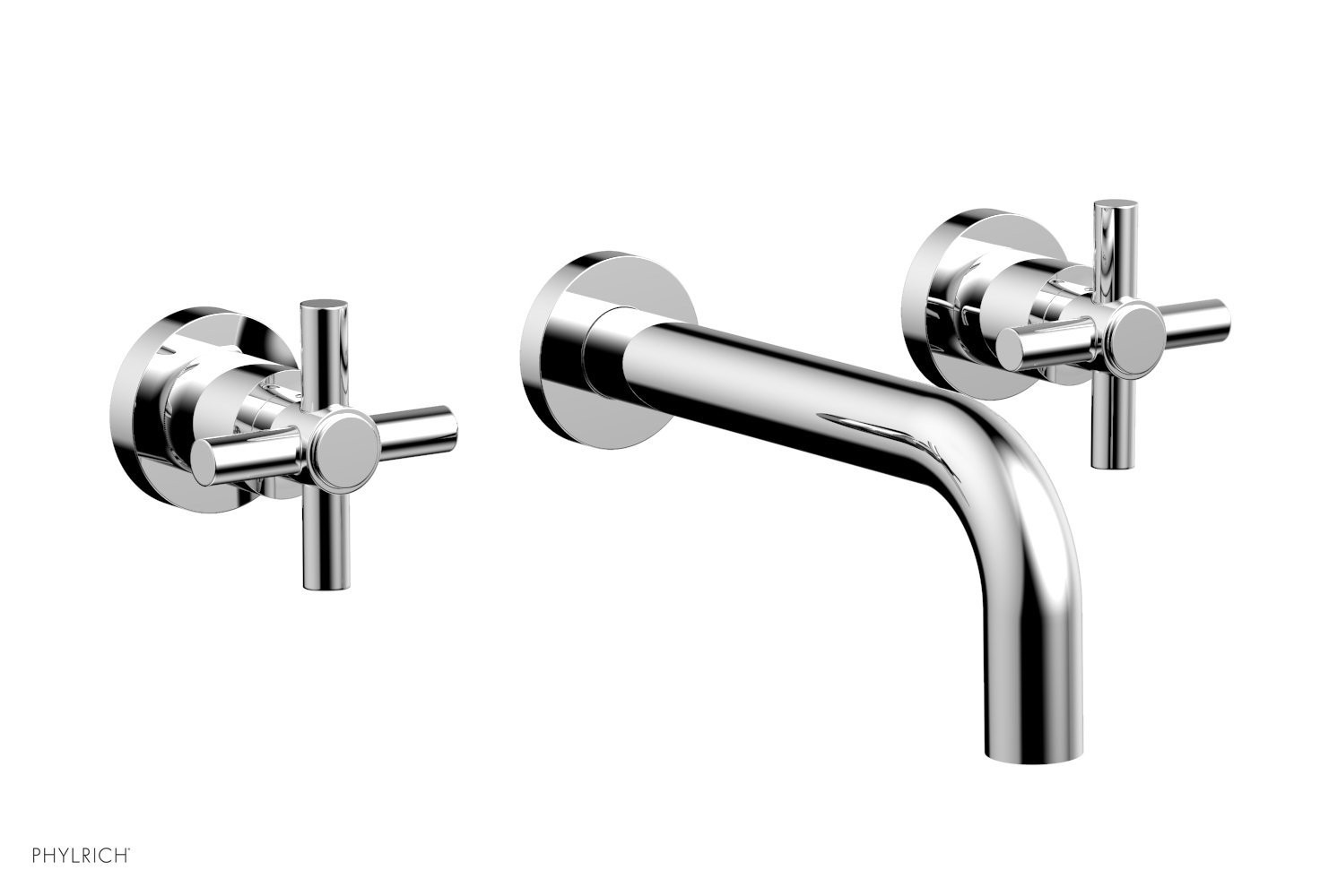 PHYLRICH D1134 BASIC THREE HOLES WIDESPREAD WALL TUB SET WITH TUBULAR CROSS HANDLES