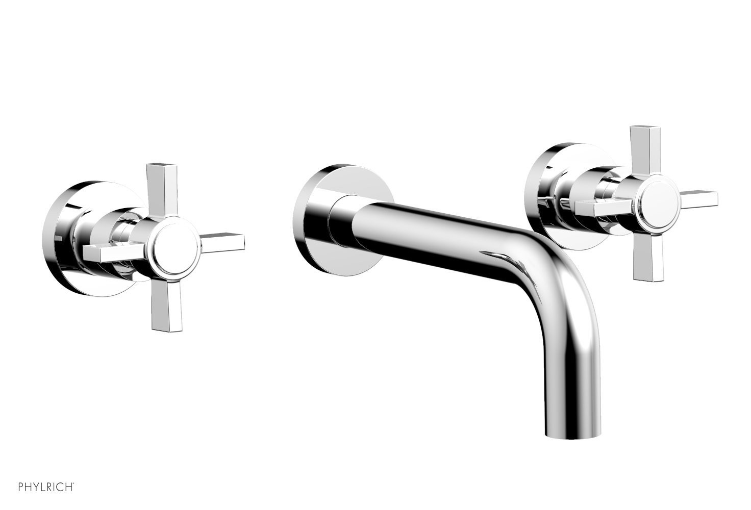 PHYLRICH D1137 BASIC THREE HOLES WIDESPREAD WALL TUB SET WITH BLADE CROSS HANDLES