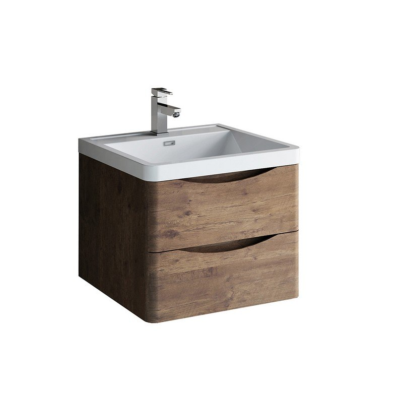 FRESCA FCB9024RW-I TUSCANY 24 INCH ROSEWOOD WALL HUNG MODERN BATHROOM CABINET WITH INTEGRATED SINK