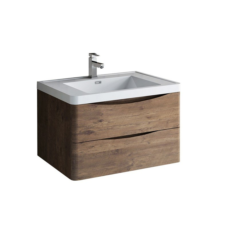 FRESCA FCB9032RW-I TUSCANY 32 INCH ROSEWOOD WALL HUNG MODERN BATHROOM CABINET WITH INTEGRATED SINK