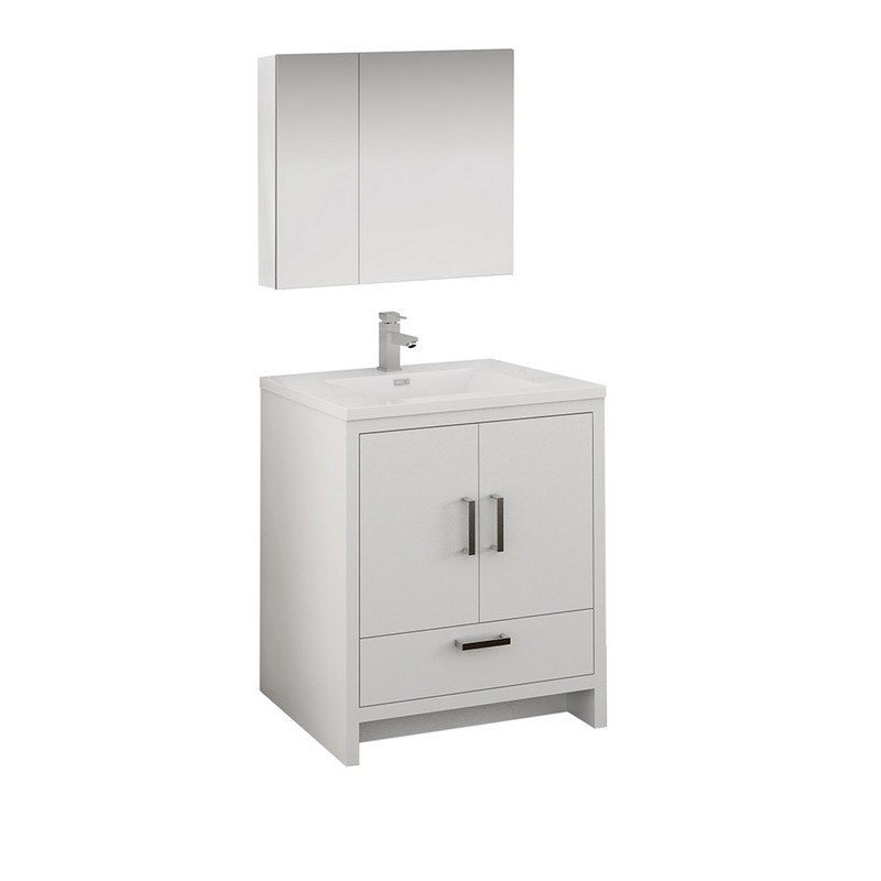 . FRESCA FVN9430WH IMPERIA 30 INCH GLOSSY WHITE FREE STANDING MODERN BATHROOM  VANITY WITH MEDICINE CABINET