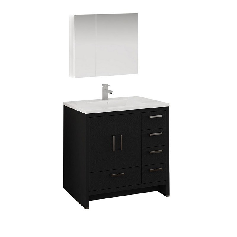 Kubebath Ad636hg Dolce 36 Inch Ash Gray Modern Bathroom Vanity With White Quartz Counter Top