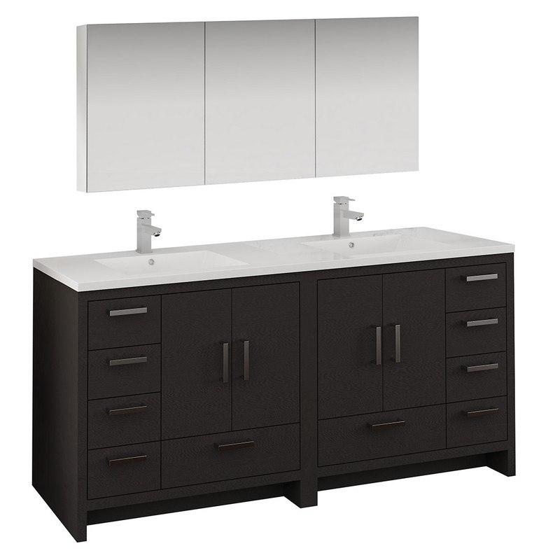 Phenomenal Fresca Fvn9472Dgo Imperia 72 Inch Dark Gray Oak Free Standing Double Sink Modern Bathroom Vanity With Medicine Cabinet Interior Design Ideas Inesswwsoteloinfo