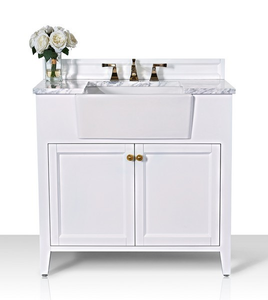 ANCERRE DESIGNS VTS-ADELINE-36-W-CW-GD ADELINE 36 INCH BATH VANITY SET IN WHITE WITH ITALIAN CARRARA WHITE MARBLE VANITY TOP AND WHITE UNDERMOUNT BASIN WITH GOLD HARDWARE