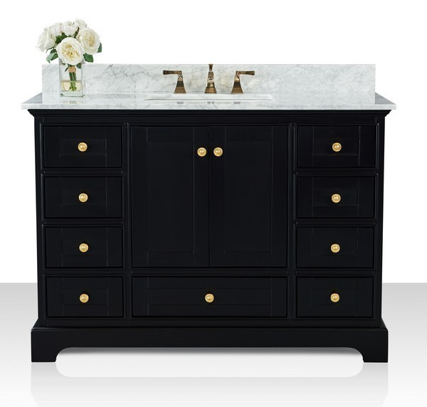 ANCERRE DESIGNS VTS-AUDREY-48-BO-CW-GD AUDREY 48 INCH BATH VANITY SET IN ONYX BLACK WITH ITALIAN CARRARA WHITE MARBLE VANITY TOP