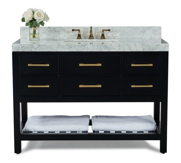 Ancerre Designs Vts Elizabeth 48 Bo Cw Gd Elizabeth 48 Inch Bath Vanity Set In Black Onyx With Italian Carrara White