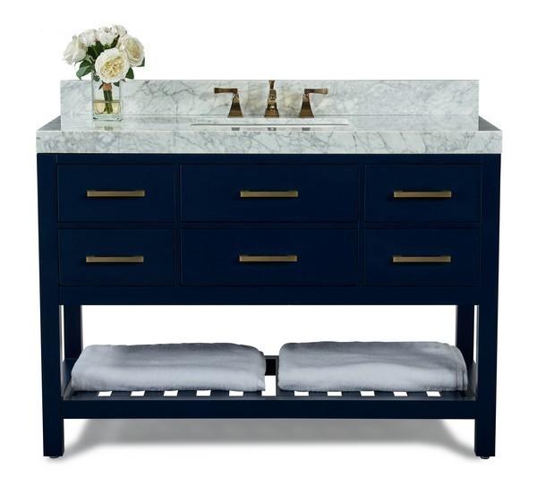 ANCERRE DESIGNS VTS-ELIZABETH-48-HB-CW-GD ELIZABETH 48 INCH BATH VANITY SET IN HERITAGE BLUE WITH ITALIAN CARRARA WHITE MARBLE VANITY TOP