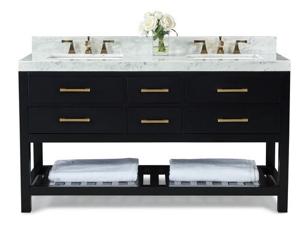 Ancerre Designs Vts Elizabeth 60 Bo Cw Gd Elizabeth 60 Inch Bath Vanity Set In Black Onyx With Italian Carrara White