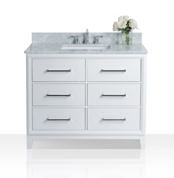 Ancerre Designs Vts Ellie 42 W Cw Ellie 42 Inch Bath Vanity Set In White With Italian Cararra White Marble Vanity Top
