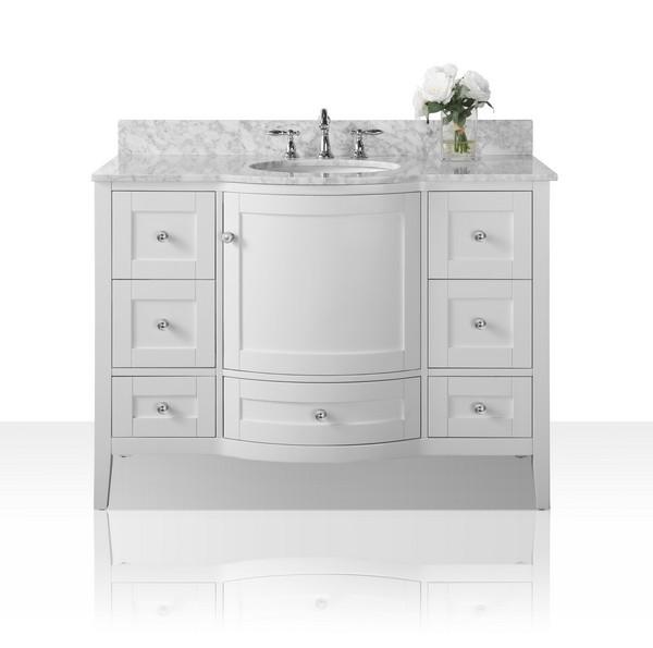 Ancerre Designs Vts Lauren 48 W Cw Lauren 48 Inch Bath Vanity Set In White With Italian Carrara White Marble Vanity