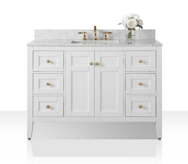 Ancerre Designs Vts Maili 48 W Cw Gd Maili 48 Inch Bath Vanity Set In White With Italian Carrara White Marble Vanity