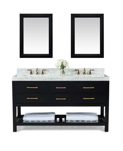Ancerre Designs Vtsm Elizabeth 60 Bo Cw Gd Elizabeth 60 Inch Bath Vanity Set In Black Onyx With Italian Carrara White